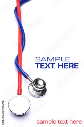 red and blue stethoscope isolated in white background