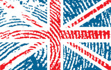 fingerprinted flag of United Kingdom poster