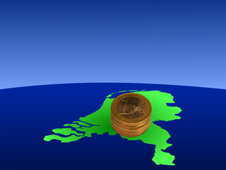 stacks of Euro coins with map of Netherlands illustration