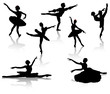 Black silhouettes of ballerinas and dancer