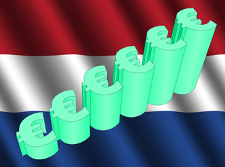 euro symbol graph on Dutch flag illustration