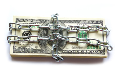 Dollars locked a chain