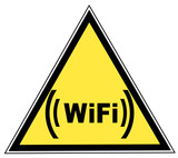 Wifi zone warning sign - yellow triangular - illustration poster