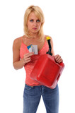 Woman holding gasoline can and credit cards poster