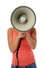 Woman using a megaphone isolated over a white backgorund