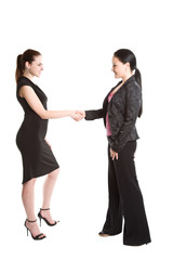 An isolated shot of two businesswomen shaking hands