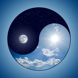 Fototapety Modified Yin & Yang symbol - sunny day versus moon at night