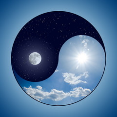 Modified Yin & Yang symbol - sunny day versus moon at night