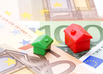 houses and euro bills