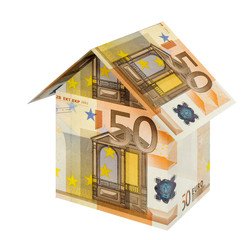 house built with euro bills, isolated on white
