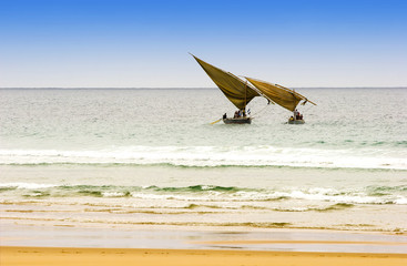 two traditional arabic fishing dhows  in Mozambique