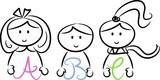 Drei Kinder mit bunten Buchstaben (ABC) in den Händen poster