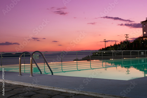 sunset in pool