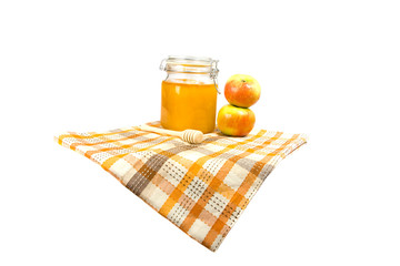 honey jar with apple isolated on the white background