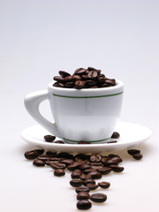 white color  cup and  plate filled with grains of coffee