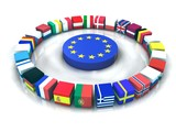 Fototapety Drapeaux parlement europe 3D