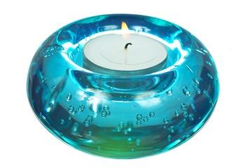 Blue glass candlesticks width lightening candle