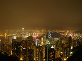 Hongkong by night as seen from sky peak poster