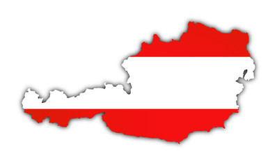 map and flag of austria on white background