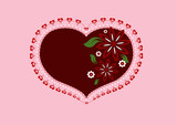 Vector heart with flowers on pink background