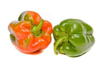 red and green peppers isolated on white
