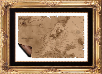 Map of Europe Framed
