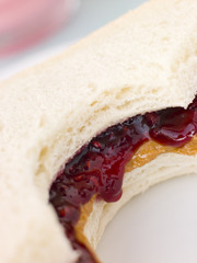Peanut Butter And Raspberry Jelly Sandwich On White Bread