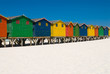 Colored beach huts near cape town