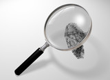 Illustration of a magnifying glass hovering over a fingerprint poster