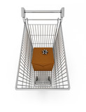 Christmas shopping recession-style - gift in shopping cart poster