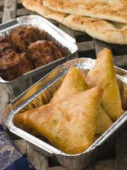 Indian Take Away- Vegetable Samosa, Naan Bread And Onion Bahji