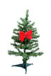 small fake green christmas tree with single red bow