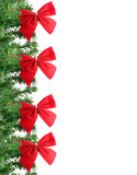 fake pine tree christmas border with red festive bows poster