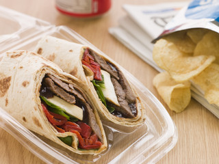 Steak, Cheese, Red Pepper And Barbeque Sauce Tortilla Wrap With