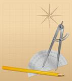 drawing tools - pencil, protractor , divider - vector poster