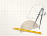 vector drawing tools - pencil, protractor, divider poster