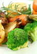 Broccoli with carrots, onions and sweet potato.