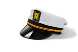 White Nautical hat with black brim and yellow braids poster