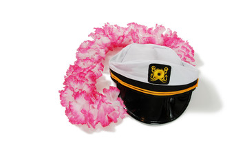 Pink and white Lei and White Nautical