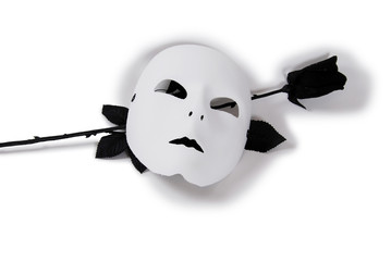 Plain White Mask and Black rose