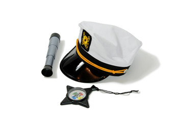 Nautical hat with telescope and compass