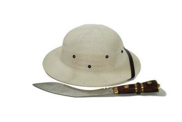 Pith helmet and large hunting knife
