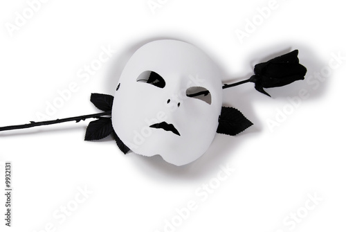 Plain White Mask and Black rose