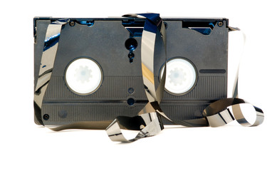 A old broken VHS tape isolated on white background