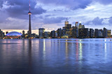 Scenic view at Toronto city waterfront skyline at sunset poster