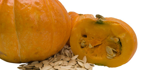 A pumpkin and pumpkin seeds