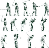 Golf swing shown in 14 stages vector illustration fully editable