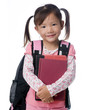 A young asian school girl ready for school.