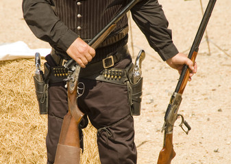 gun inspection after shooting in a cowboy action shooting event