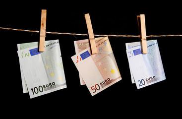 100, 50, 20 euro money